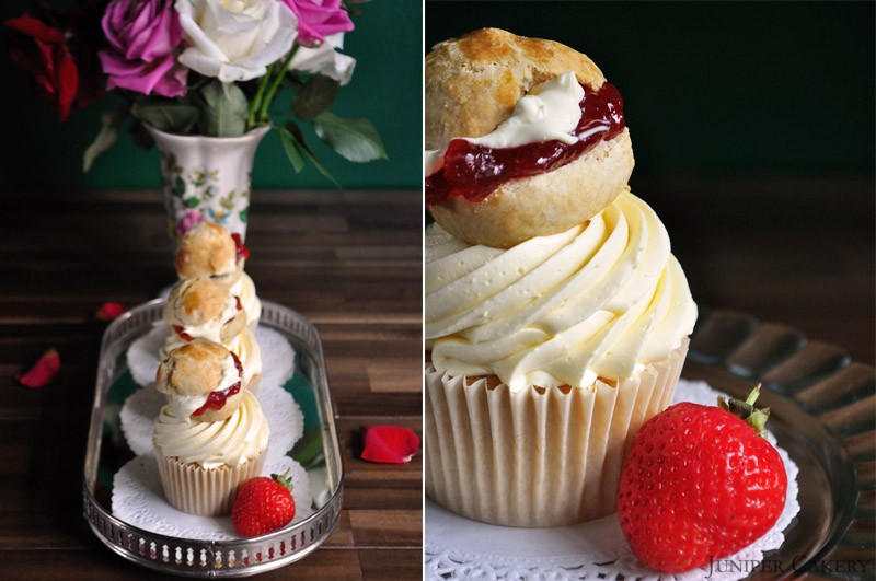 Strawberries & Cream Scone Cupcake