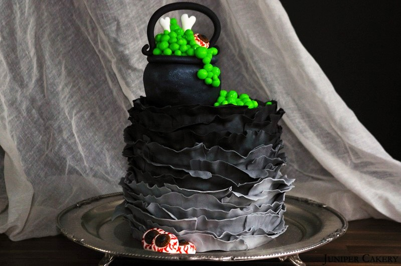 Witches' Cauldron Ruffle Cake