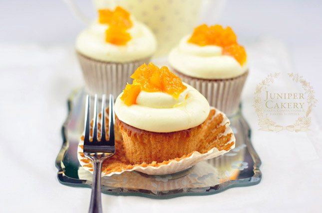 Recipe for Honey, Peach and White Chocolate Cupcakes by Juniper Cakery