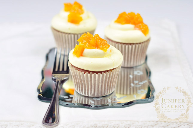 Make these Honey, Peach and White Chocolate Cupcakes by Juniper Cakery