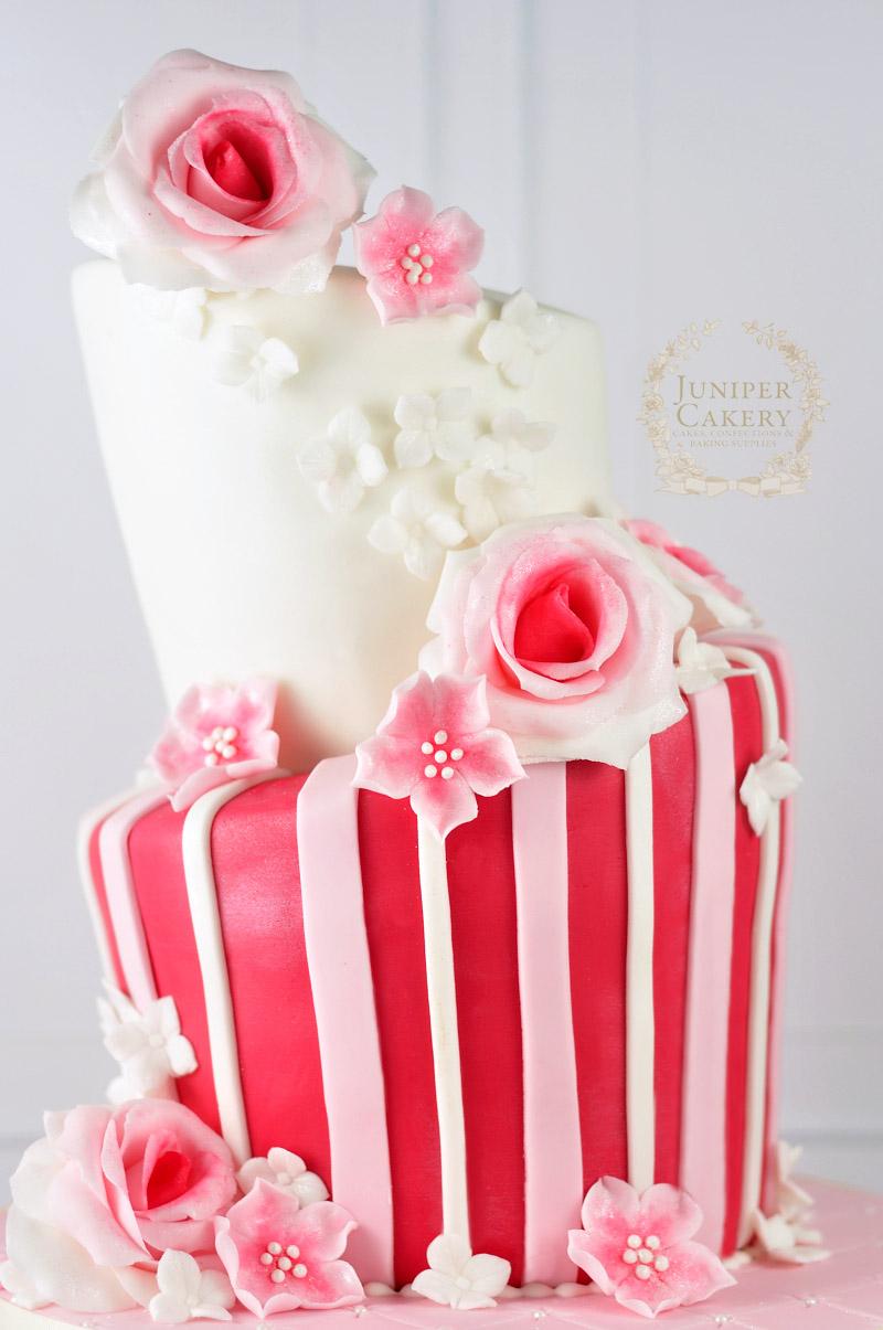 Lovely topsy turvy birthday cake by Juniper Cakery