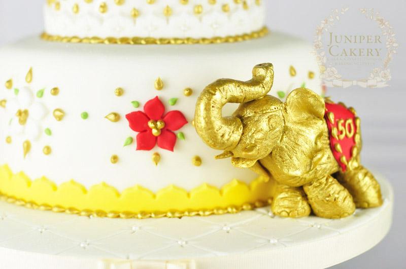 Gold painted Taj Mahal inspired cake by Juniper Cakery