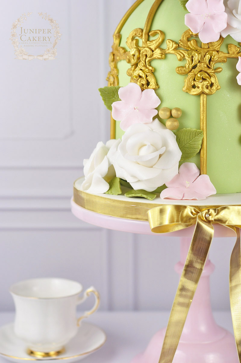 Gold birdcage cake by Juniper Cakery