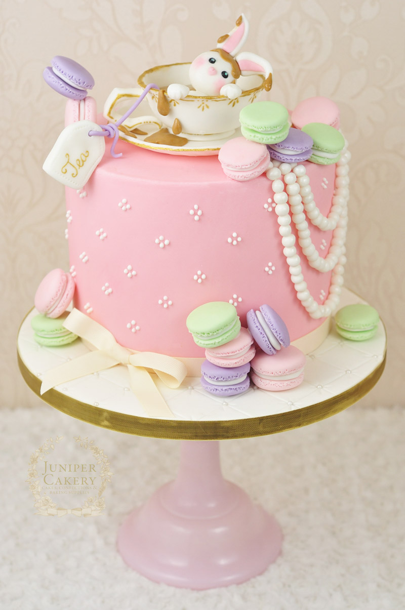 Cute Afternoon Tea Cake With Fondant Rabbit By Juniper Cakery