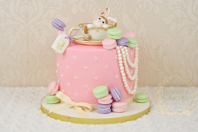 Vintage Tea And Macarons Cake With Cheeky Rabbit Juniper Cakery
