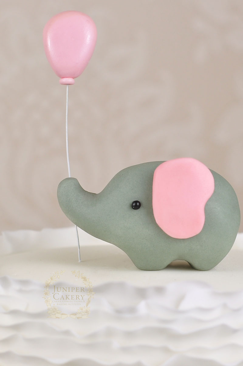 creating the gum paste elephant for this ruffled elephant baby shower