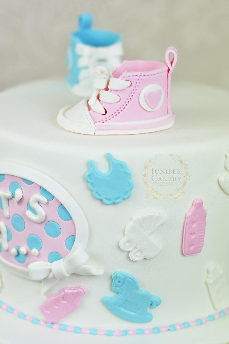 Converse themed baby shower cake by Juniper Cakery