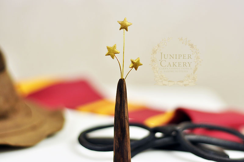 Edible Harry Potter wand with shooting stars by Juniper Cakery