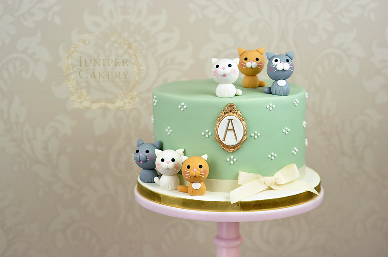Cute kitten themed cake with monogram by Juniper Cakery