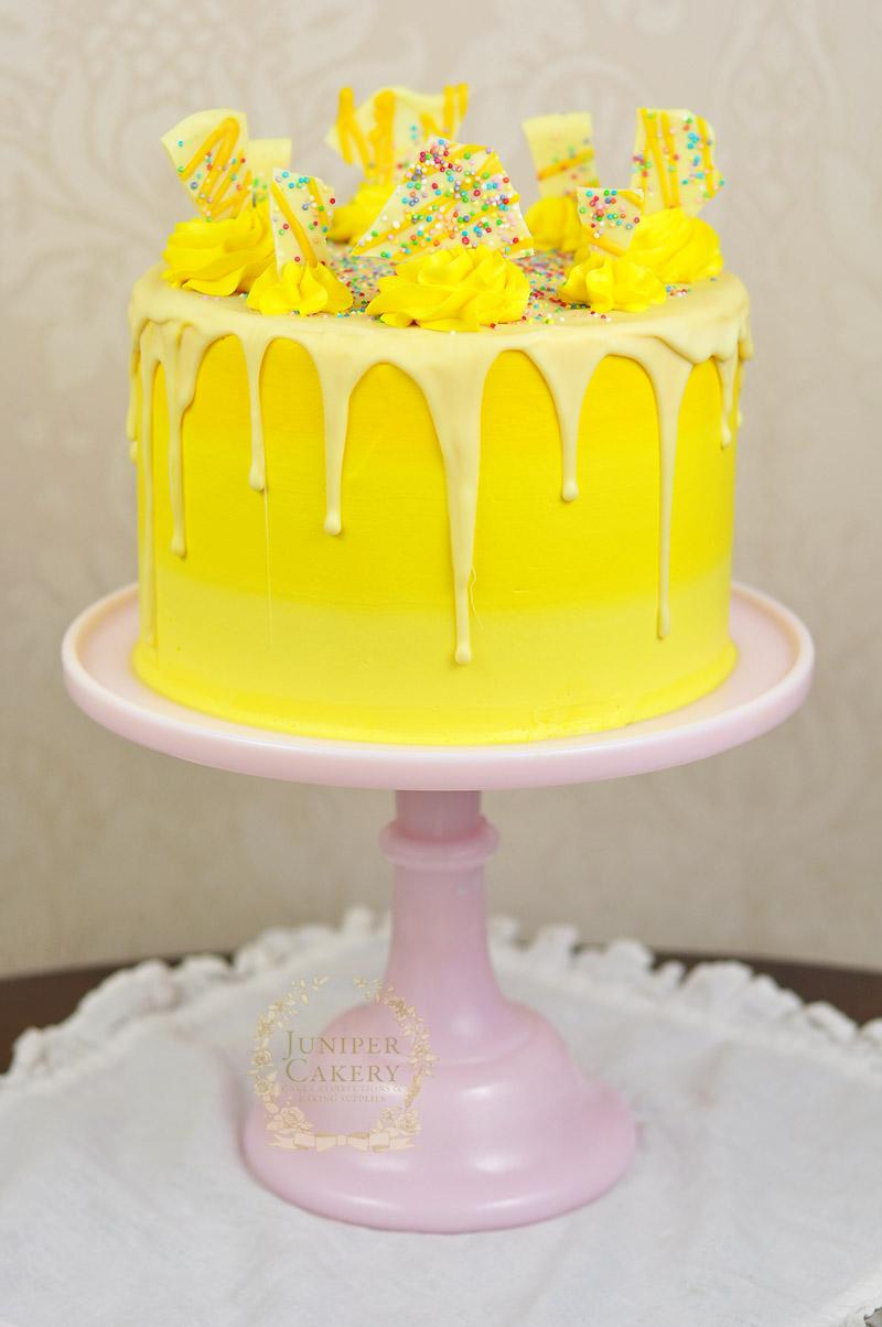 Lemon ombré bakery style cake by Juniper Cakery