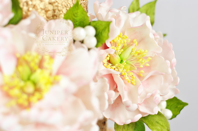 Pretty peony wedding cake by Juniper Cakery