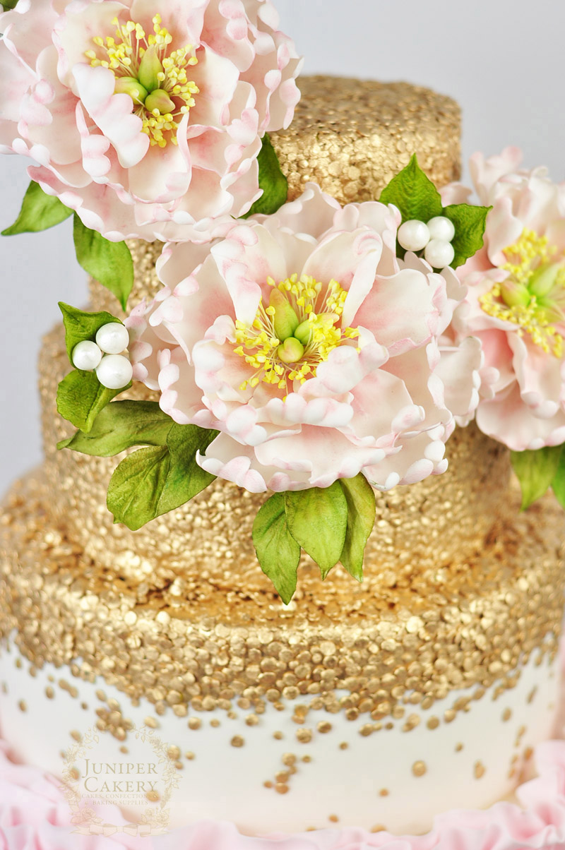 Peony Ruffle Wedding Cake With Gold Sequins